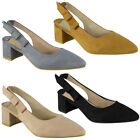 Womens Ladies Party Sandals Elastic Slingback Strap Summer Mid Heel Shoes Size