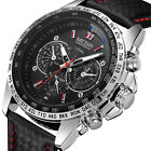 Mens Leather Strap Sub-Dial Waterproof Sport Business Dress Quartz Analog Watch