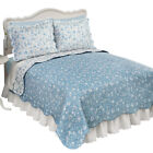Floral Scroll Two-Tone with Scalloped Edges Reversible Lightweight Quilt image