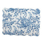 Quilted Pillow Sham in Leafy Floral Garden with Scalloped Edges image