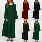 Womens Summer Vintage Long Sleeve Crew Neck Swing Party Loose Long Maxi Dresses