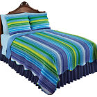 Colorful Reversible Reagan Stripe Scalloped Edge Quilt, by Collections Etc image