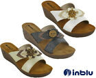 Womens Wedge Sandals Open Toe Inblu Padded Leather Insock Slip Flower UK 2.5-8
