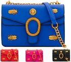 LADIES FAUX LEATHER BEATLE STUDS GOLD CHAIN SATCHEL MESSENGER TOTE SHOULDER BAG