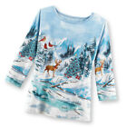 Women's Woodland Winter Scene Christmas Top w/ Sequins, by Collections Etc