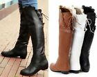 Womens Floral Back Lace Up Knee High Boots Casual Riding Boots Winter Boots US8