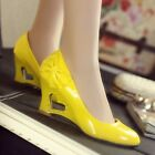 Patent Leather Round Toe Womens Heart Hollow Out Wedge Heel Ladies Pumps Sandal
