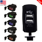 Car Boat Dual USB Charger ARB Rocker Switch Carling Backlit Red 12-24 Waterproof