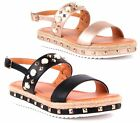 WOMENS LOW WEDGE SOLE ANKLE SLINGBACK PEARL STUDS PEEPTOE SUMMER SANDALS SHOES