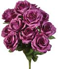 12 Open Roses ~ MANY COLORS ~ Bridal Bouquets Centerpieces Silk Wedding Flowers