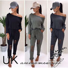 Sexy Women One word collar Strapless Personality Long Sleeve Pants Cotton Casual