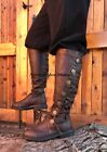 Black LARP Lord of the Rings Faux Leather Medieval Pirate Robinhood Mens Boots