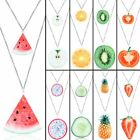Fruit Double Layer Watermelon Strawberry Pineapple Pendant Necklace Jewellery