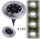 8 LED Solar Power Disk Lights Buried Light Outdoor Under Ground Waterproof Lamp
