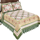 Reversible Shabby Chic Blending Ring Cottage Floral Sage Bedding Quilt