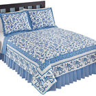 Reversible Delicate Blue Floral Butterfly Quilt, by Collections Etc image