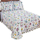 Butterfly Joy Floral Lightweight Plisse Summer Cotton Ruffle Bedspread image