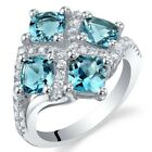 2.50 Ct London Blue Topaz Sterling Silver Quad Ring Sizes 5 to 9