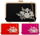 LADIES EMBROIDERY FAUX SUEDE GOLD FRAME EVENING PURSE BRIDAL PROM CLUTCH BAG