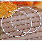 18K White Gold Filled 1.8 mm very thin Endless Round Hoop Earrings 14 to 60MM