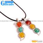 """Multi-Color Agate 3 Peas In A Pod Pendant Leather Rope Necklace 18""""Free Shipping"""