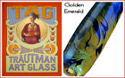 "-NEU- TRAUTMAN ART GLASS ""Golden Emerald"" OddLot 2nds, alles von 4/5 bis 6/7mm"