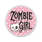 Cute Zombie Girl Decal Polka Dots Pink Bow Skull Gloss Sticker HVG