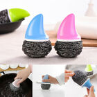 Stainless Steel Wool With Handle Scouring Pad Scrubber Kitchen Cleaning Sponge