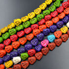 """14x15mm Howlite Turquoise Gemstone Carved Buddha Head Spacer Loose Beads 15.5"""""""