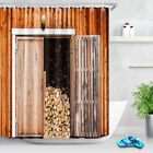 "72x72"" Rustic Barn Wood Board Door Shower Curtain Bathroom Waterproof Fabric Set"