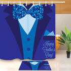 Happy Father's Day To Dad Shower Curtain Bathroom Waterproof Fabric Hook Mat Set
