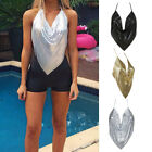 Women Sexy Sequins Glitter Camisole Halter Backless Vest Evening Party Tank Tops