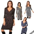 Womens Plunge V Neck Cross Wrap Top Midi Dress Ladies Knee Long Skirt UK 8 - 18