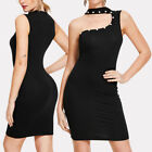 Womens One Shoulder Bodycon Mini Short Pencil Dress Choker Black Party Evening