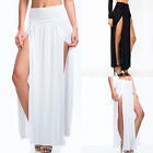 Women Sexy Solid High Waist Side Slit Casual Pleated Long Skirts Irregular Dress