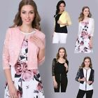 Ladies Women Lace Sleeve Cropped Blazer Evening Shrug Bolero Top Cardigan Jacket