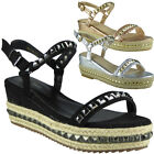 Womens Ladies Platform Peeptoe Flatform Hessian Studs Shoes Wedge Sandals Sizes