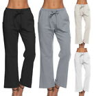 Women Elastic Wasit Loose Yoga Pants Solid Causal Cotton&Jute Sports Trousers