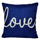 "16x16"" Vintage Linen Navy Blue Throw PILLOW COVER Sofa Couch Bed Cushion Case US"