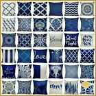 "16x16"" Throw Pillow Cover Linen Navy Blue Double-sided Decorative Cushion Case"