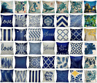 "20x20"" Vintage Linen Navy Blue Throw PILLOW COVER Sofa Couch Bed Cushion Case US"