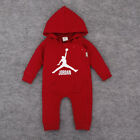 New Baby Boy Girl Jordan 23 Hooded Romper Baby Playsuit Outfits Clothes 0-18 M