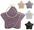 WOMENS STAR SHAPE HARDCASE METALLIC PARTY PROM BRIDAL EVENING PURSE CLUTCH BAG