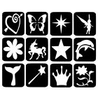 12 x Glitter Tattoo Stencils - Mixed Girl Refill Face Painting Airbrush Festival