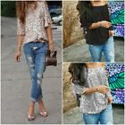 Ladies Off-shoulder Loose Casual Glistening Sequin Slim Shirt Tops Size S-5XL