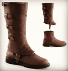 Brown Steampunk Serenity Space Captain Victorian Pirate Cosplay Mens Boots 9 10