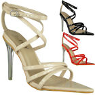 Womens Strappy Sandals Perspex Heels Ladies Wedding Party Going Out Shoes Size