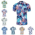 Fashion Mens Hawaii Shirts Floal Casual Shirts Short Sleeve Beach Cotton Shirts