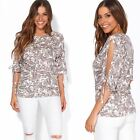 Women Ladies Cut Sleeve Cold Off Shoulder Loose Butterfly Top T Shirt Plus 10-22