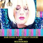 Hair Tinsel Extensions Strands Glitter Holographic Sparkle Dazzles Long x100